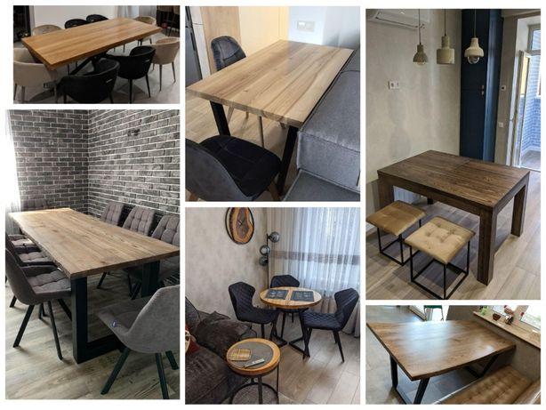 Стол кухонный LOFT раздвижной сосновый из ясеня круглый офисный