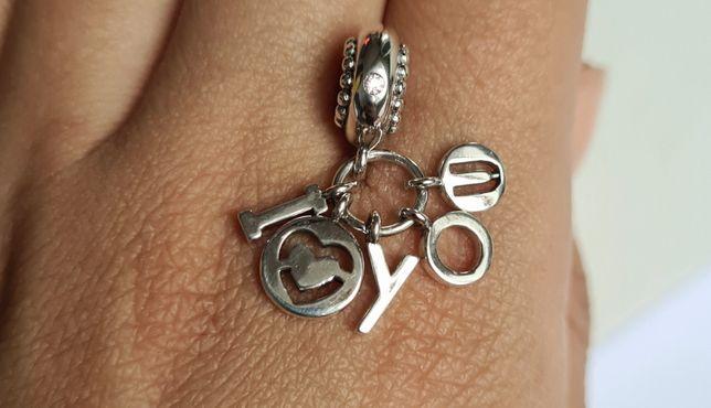Charms zawieszka i love you srebro próba 925 do Pandora,Apart,Yes