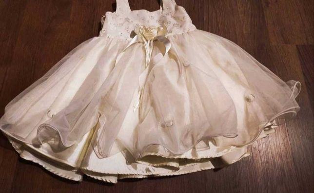 Śliczna sukienka kremowa ecru chrzest wesele