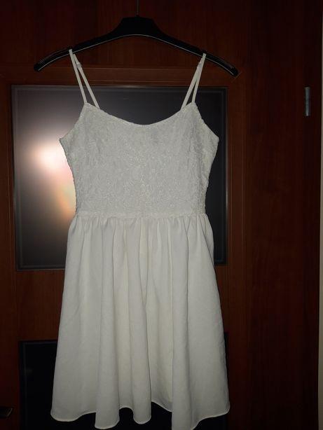 H&M śmietankowa bluzka baskinka koronkowa j. Nowa 36
