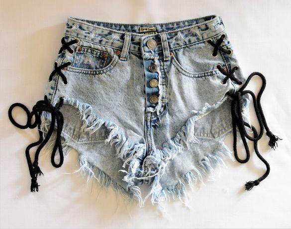 Spodenki jeansowe sznurowane krótkie  szorty wysokie rozm. 32