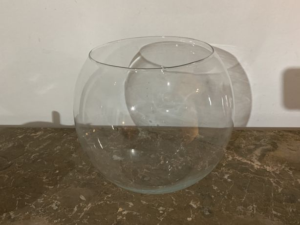 Aquário de vidro redondo grande