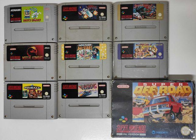 7 Jogos SNES SuperNintendo Mario F-Zero R-Type Kombat Off Road Pinball