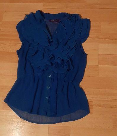 Niebieska elegancka bluzka typu mgiełka rozm uniwersalny