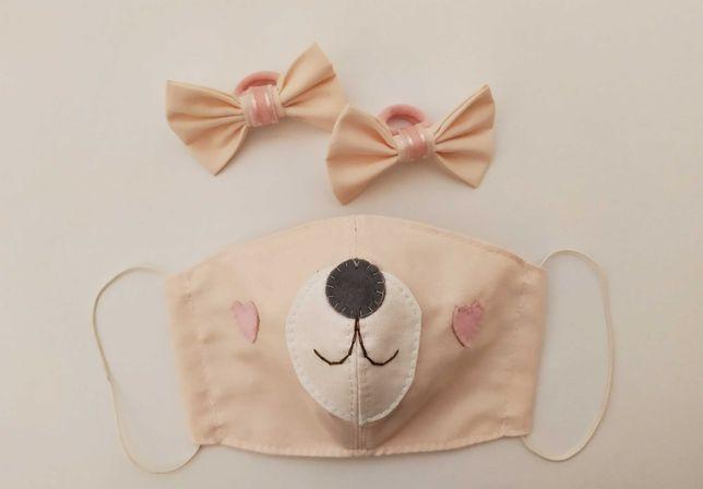 Комплект: детская защитная маска и бантики-резиночки