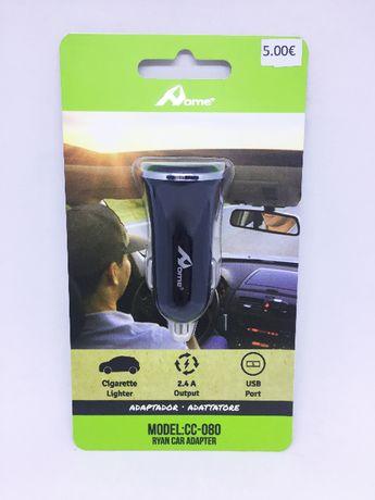 Carregador de isqueiro com 2 entradas USB para carro/autocaravana-NOVO