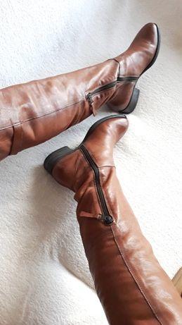 Mjus 100% skóra naturalna kozaki muszkieterki oficerki za kolano 37