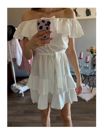 Biała sukienka hiszpanka wiązana w pasie z falbankami Falbanki S M L