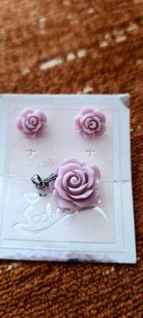 Komplet biżu - liliowa róża - nowy