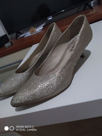 Buty ślubne brokatowe