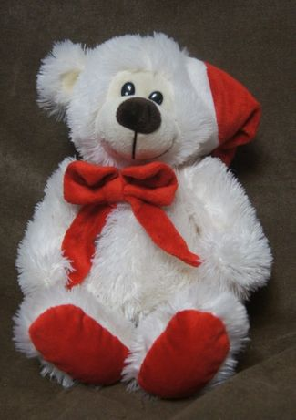 Maskotka miś świąteczny z czapeczką biały ok 37cm