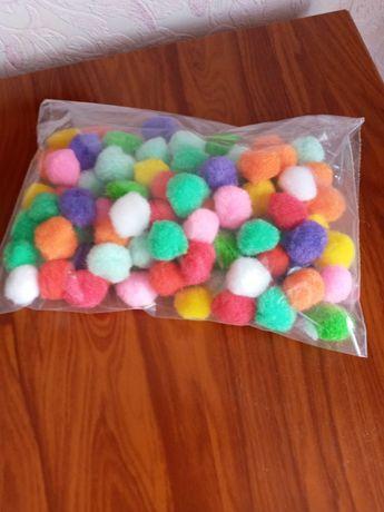 Помпоны Ø18-20мм, разноцветные помпоны для творчества