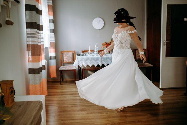 Suknia ślubna rustykalna, długi rękaw, boho, zwiewna, muślin