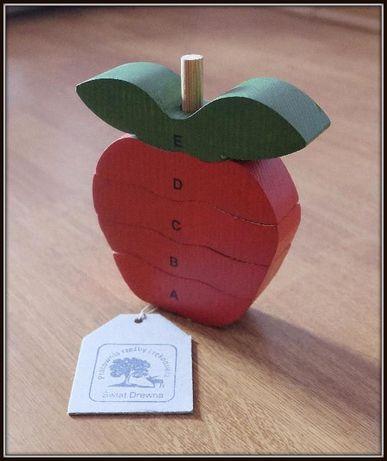 Drewniana układanka jabłko, zabawka montessori