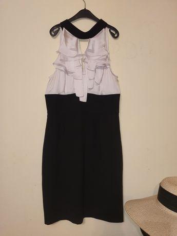 Vestido cintado branco e preto
