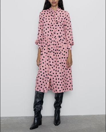 Zara sukienka nowa grochy rozowa xs s maxi midi falbanki plisy