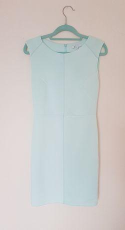 Ołówkowa sukienka miętowa 38