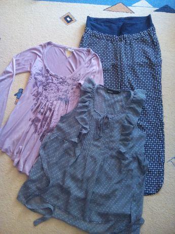 zestaw ubrań ciążowych spodnie ciążowe H&M satynowe r. M 38