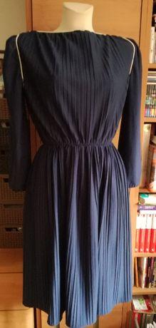 Granatowa, plisowana sukienka, rozmiar 36-42