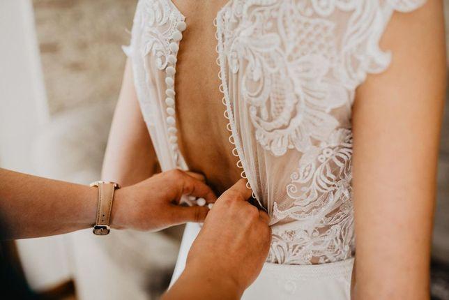 Suknia ślubna z muślinowym dołem roz. 34-36