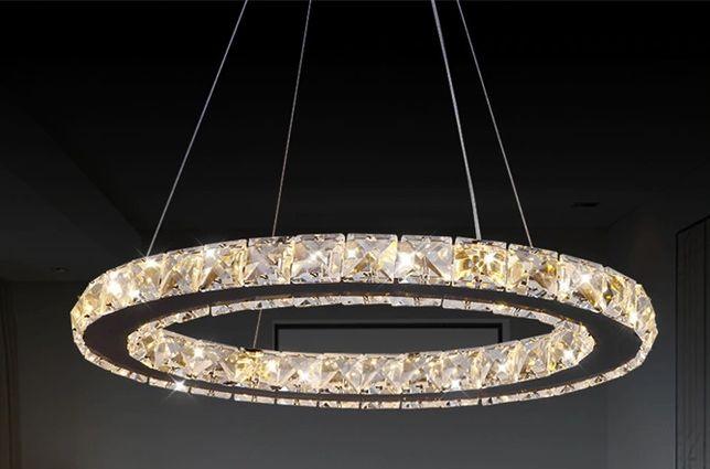 żyrandol plafon lampa LED ring wisząca sufitowa z kryształami
