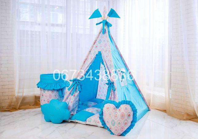 Детская Палатка Вигвам «ПИРОЖНЫЕ» Голубой. В наличии! VIGVAM ELIT