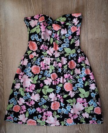 Sukienka mini letnia w kwiaty H&M 38/M