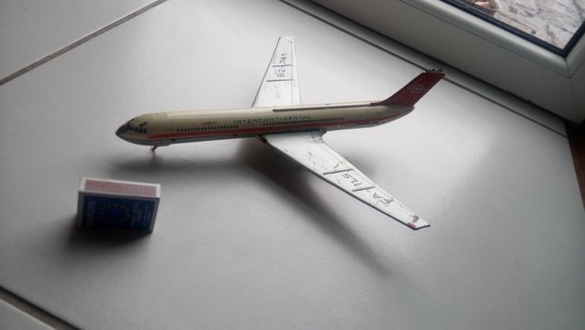 Samolot zabawka metalowy zabytkowy dla kolekcjonera Stary zabytkowy