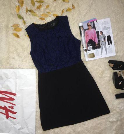 Маленькое чёрное платье/платье с гипюром/чёрно-синее короткое платье
