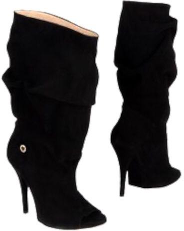 Осенние женские сапоги на каблуке с открытым носком Elizabetta Franchi