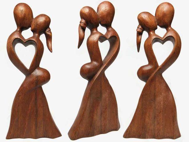 Piękna 30cm RZEŹBA Miłosna Lite Drewno Super Prezent Rękodzieło Orient