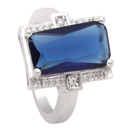 Nowy pierścionek srebrny kolor granatowa wielka cyrkonia kamien oczko