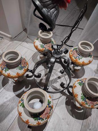Lampa sufitowa żyrandol pięcioramienny w kwiaty styl wiejski PRL
