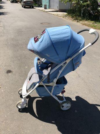 Коляска mio guatro голубая для мальчика