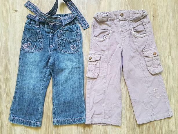 Spodnie jeansowe sztruksowe z paskiem r.80