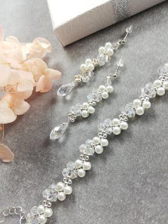 Biżuteria ślubna Crystal AB perły białe perełki bransoletka i kolczyki