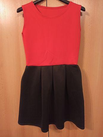 Sukienka czerwona, czarna, mini