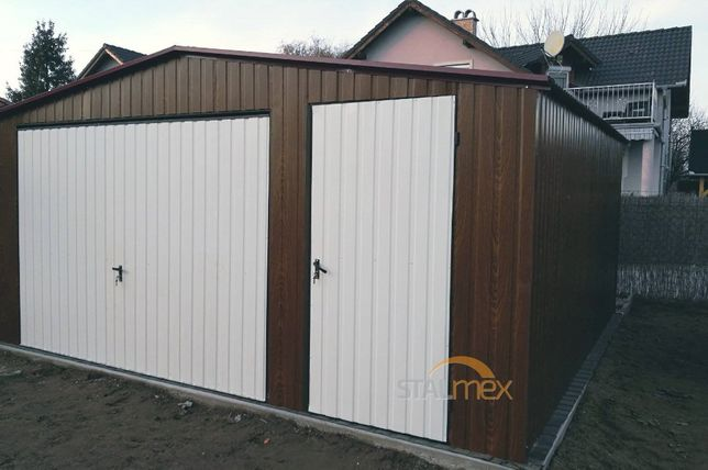 Garaż blaszany 5x5 II spad struktura drewna garaże blaszane