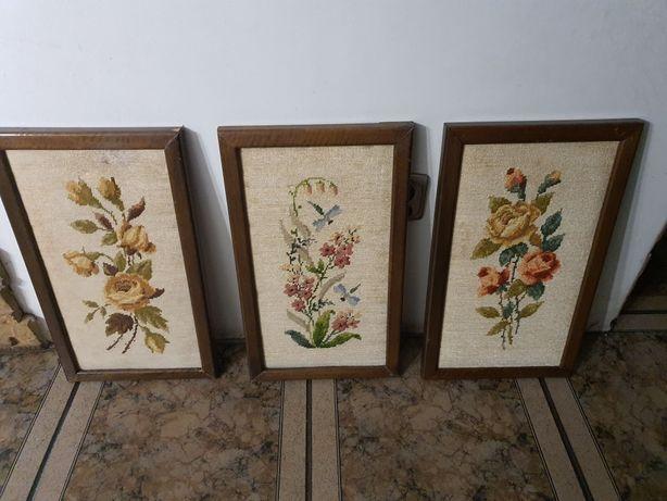 Obrazek hafty kwiaty
