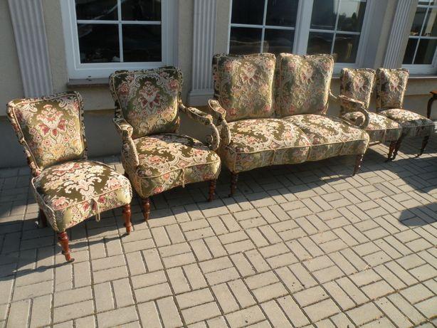 Komplet Biedermeier Sofa ,fotel , 3 krzesła