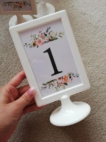Stojaki na numery, numeracja stolików ślubnych, od 1 do 7, dwustronne