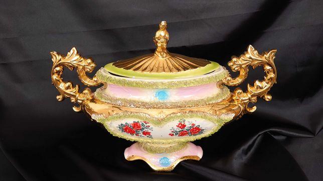 Pięknie zdobiona reprezentatywna duża waza porcelana