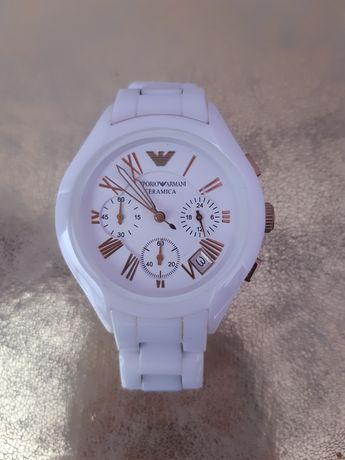 Zegarek Emporio Armani ceramiczny biało złoty