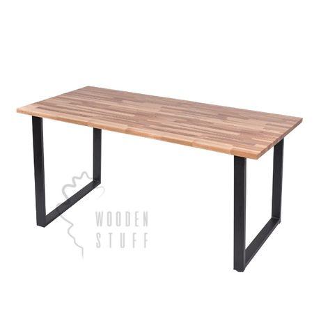 Stół drewniany bukowy 120x80x4 rozkładany loft metalowe nogi salon