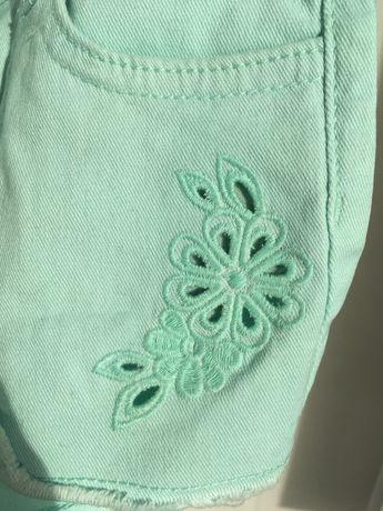 Шорты H&M джинсовые 104 с вышивкой мятные новые с этикетками