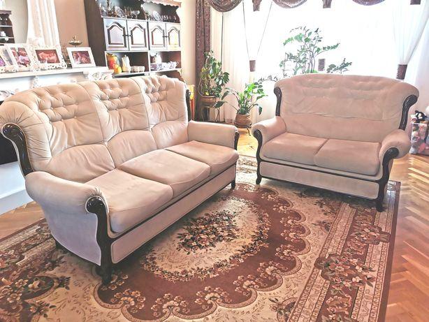 Eleganckie stylowe kanapy 3+2 z funkcją spania oraz pufa