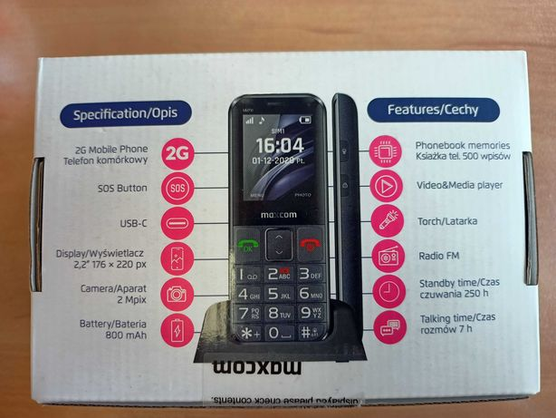 Telefon MAXCOM MM730 na gwarancji
