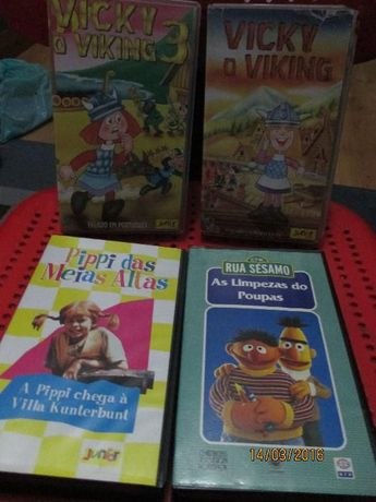 4 cassetes VHS - Pippy; Vicky e Rua Sesamo