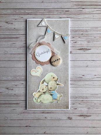 Kartka okolicznościowa ręcznie robiona z okazji narodzin dziecka