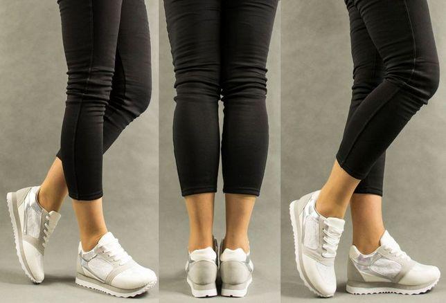 OUTLET Nowe Sportowe Buty Białe Koronka rozmiary 38,39